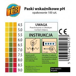 PASKI WSKAŹNIKOWE pH 4.5-9.0 - 100szt. [TiB®]