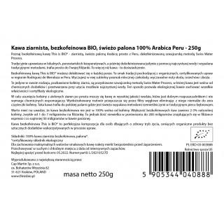 KAWA ZIARNISTA BEZKOFEINOWA BIO 100% ARABICA - 250g [This is BIO®]